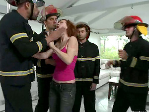 Red-haired Cockslut Audrey Hollander Group-fucked by Five Firefighters