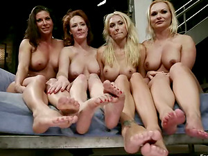 Three Huge-titted Imperious Lesbos Having Foot Joy with Ginger-haired Audrey Hollander