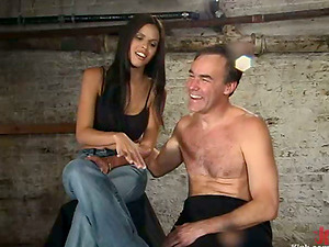 Bashful Love thumbs a stud and torments his dick with ropes
