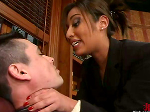 Jasmine Byrne Strapon Fucking His Donk Over the Desk in Office Female domination