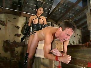 Cable Restrain bondage and Pegging in Female domination with Asian Mika Sunburn