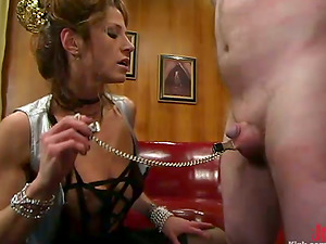 Kym Wilde Tormenting a Little Penis and Nut Face Sitting a Tied Up Dude