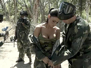 Paintball Match Finishes with a Big Man sausage Inwards Jessica Jaymes' Cunt