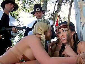 Pilgrims Stuffing Sexy Indians's Fuckboxes with Jizz-shotgun Like Turkeys