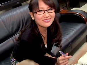 Japanese Chick in Glasses Demonstrating Her Undies Upskirt in the Office