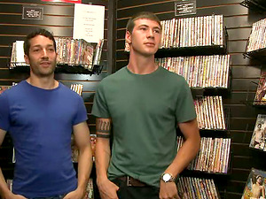 Andrew Fitch gets his mouth and culo fucked in a shop
