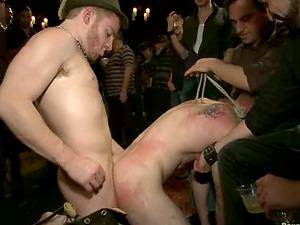 Chad Brock gets bounded and gang-fucked at faggot X-Mass soiree