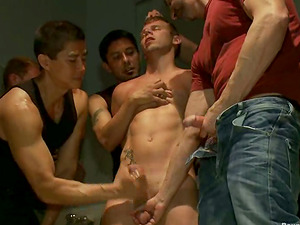 Branden Forrest gets his arse ripped apart in a group scene in a public WC