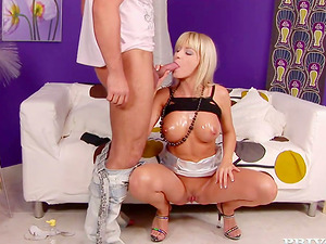 Oiled up and booty blondie is getting some anal invasion invasion