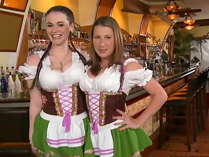 Hot chicks in traditional German dresses get fucked in a bar