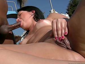 Ass-fuck Interracial Hump by the Pool with Dark haired Camille Campos