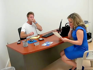 Office Gonzo Act with Blonde Cougar Carmen Valentina
