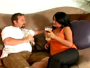 Sizzling black-haired cougar with sexy tits is fucking so hard