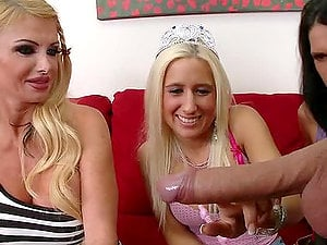 Blonde mummy instructs two bitches how to suck a dick