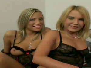 Two lovely blondes in sexy underwear fuck two guys in a bedroom