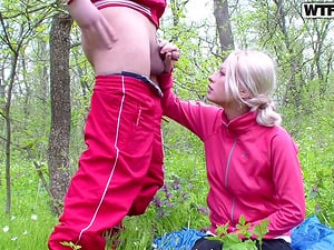 Banging a Blonde's Twat in the Kitchen Very first and in the Forest Afterwards