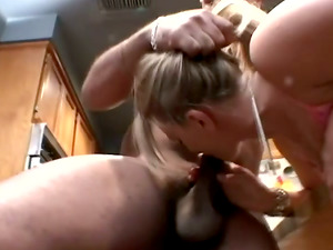 Sexy Porsha Rail lies on a kitchen table and inhales Big black cock