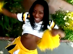Sugary black cheerleader is getting a fat black man sausage