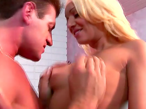 Hot Blonde Cougar with Big Titties Donna Doll Getting a Big Dick Fuck