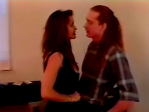 This dark-haired in sexy undergarments is loving her man and getting that manstick for this flick