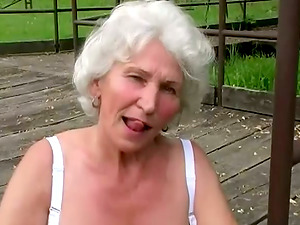 Horny Granny Massages Her Cunt Outdoor Before Bj