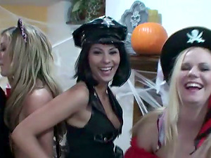 Amy and Cindy get fucked in cowgirl position at a soiree