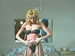 A retro female in crimson stockings gets plowed in a homemade vid
