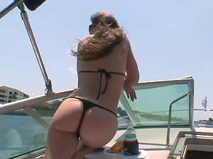 Hot damsels in swimsuit have lesbo fuck-a-thon on a boat