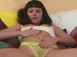 Supah Sexy Dark-haired Solo Teenage has Lil' Vagina for Fat Fuck stick!