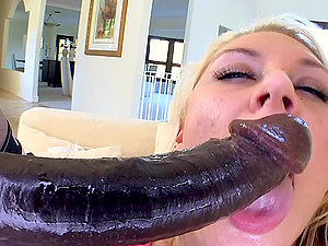 Gigantic Monster Dick Drilling a Blonde's Snatch in Interracial Pornography Clip