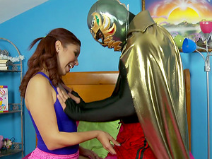 Leah Cortez gets fucked by a boy in a superhero costume