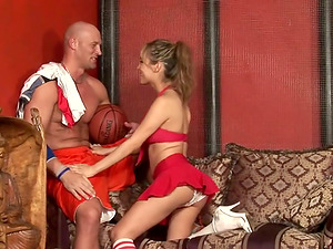 Transsexual cheerleader Celeste has ardent hump with Christian XXX