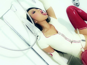 Kinky Asian Nurse In Spandex Fucking Her Vagina And Butt