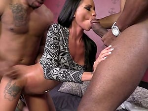 Beautiful Honey Raven Bay Gets Drilled By Two Big Black Hard-ons