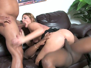 Aurora Snow fucktoys her butt before sucking and railing two BBCs