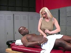 Hot Mummy Massagist Gets Interracial Gang-bang By Few Dudes