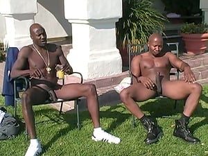 Interracial MMF Threesome as She Services Two Guys Outside