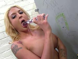 Princess Blonde Deepthroating Two Black Sausages From Gloryhole