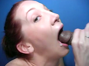 Sandy-haired Cadence Calibre blows a dick and gulps jizm