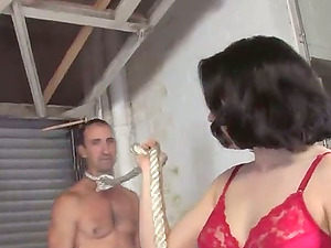Dirty Brown-haired Wifey Tied Her Spouse And Gets Fucked By Big Black Penis