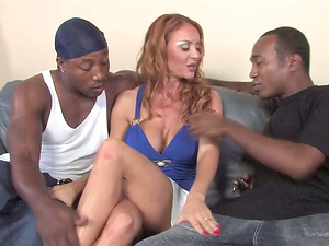 Milky Cougar with Big Tits Lets a Black Man Jizm in Her Mouth