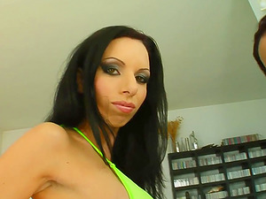 Nice shaven cootchie on this chick who makes out with a chick before the 4 way and Double penetration embark