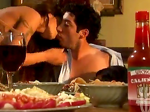 Two gorgeous brunettes share a man rod in the dining room