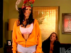 Retro Scene With Antsy Cougar Shay Glances Getting Worked On The Couch