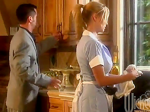 Sexy housemaid has a lezzy hookup with two ladies