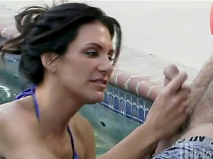 Sydnee Steele gives a handjob and gets amazingly banged on the poolside
