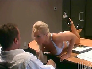 This office whore has excellent natural tits and a cunt that's glutton for some act