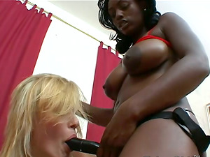 Slender Sharon Wilde gets her butt and beaver toyed by Black chick