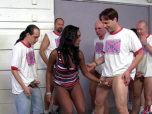 Gorgeous black nymph Layton Benton luvs a gang-bang and gets facialed