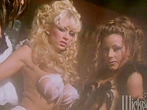 Three sexy women in angel costumes plaything each others cunts
